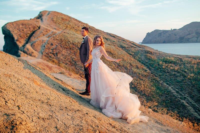 Pares felizes do newlywed Noivos bonitos em um terno foto de stock
