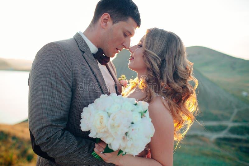 Pares felizes do newlywed Noivos bonitos em um terno fotografia de stock royalty free