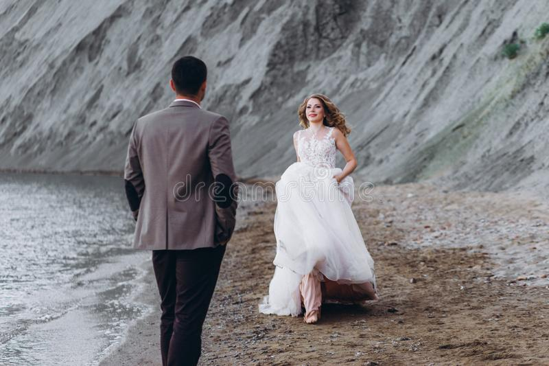 Pares felizes do newlywed Noivos bonitos em um terno imagens de stock royalty free