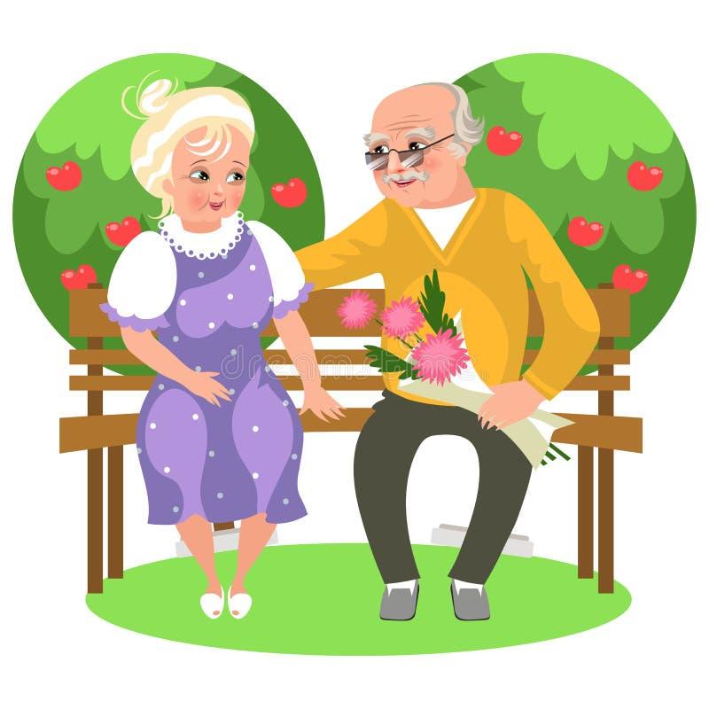 Pares felizes dos desenhos animados que sentam-se no jardim no banco ilustração royalty free