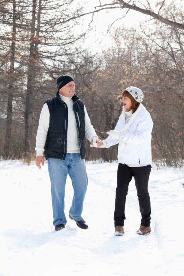 Pares felizes dos séniores que andam no parque do inverno fotografia de stock