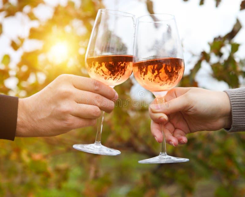 Pares felizes novos que apreciam uns vidros do vinho cor-de-rosa foto de stock royalty free