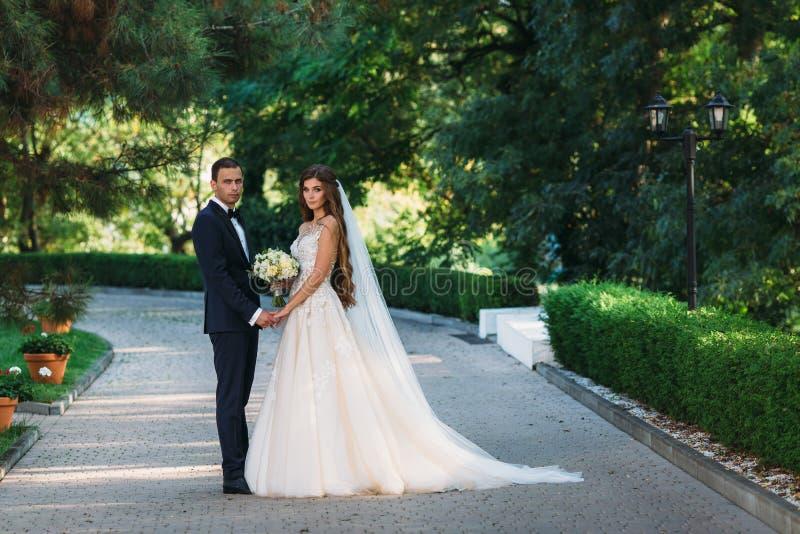 Pares felizes que abraçam e que penduram para fora no parque A noiva em um terno preto com um laço e uma noiva em um bonito imagem de stock