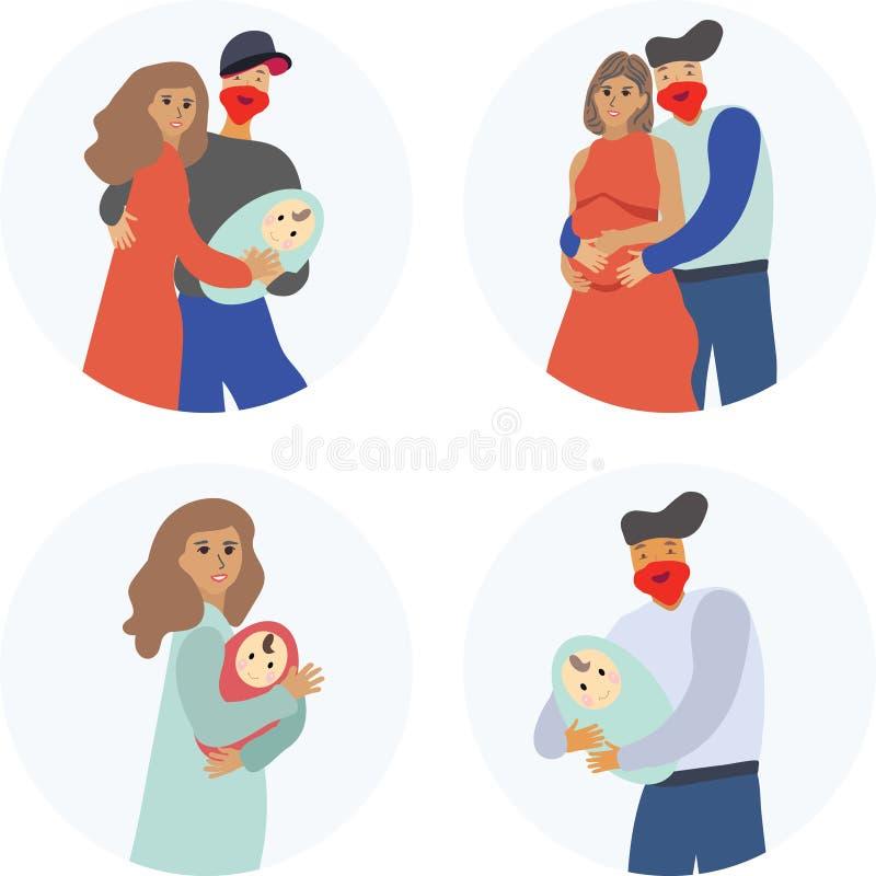 Pares felizes que esperam guardando um bebê ilustração royalty free