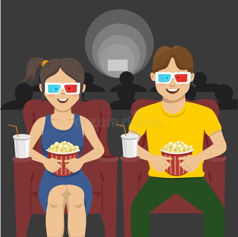 Pares felizes que sentam-se no cinema, filme 3D de observação, comendo a pipoca, sorrindo ilustração stock