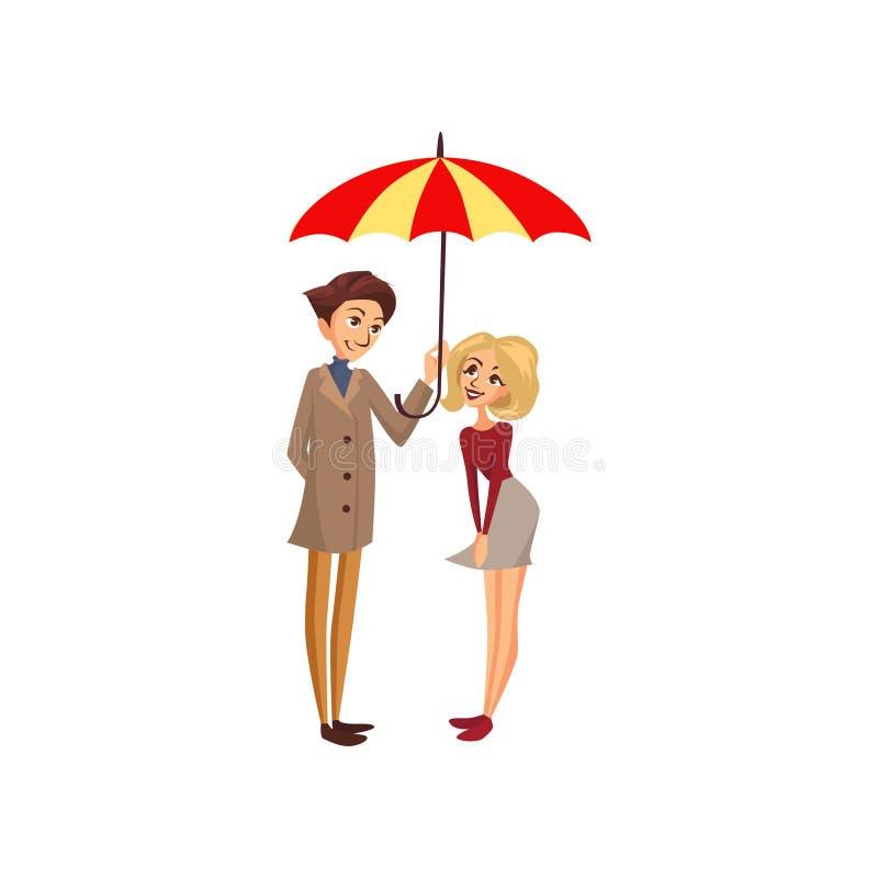 Pares felizes sob um guarda-chuva listrado grande, ilustração chuvosa do vetor dos desenhos animados do conceito do tempo ilustração do vetor
