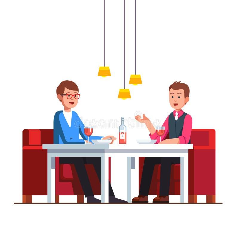 Pares gay cariñosos que se sientan en la tabla del restaurante stock de ilustración