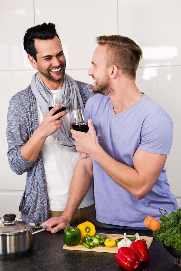 Pares gay sonrientes con el vino rojo fotografía de archivo