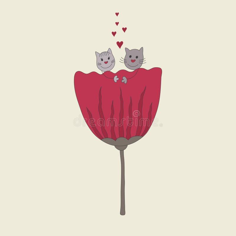 Pares hermosos de gatos lindos Garabatear diseño stock de ilustración