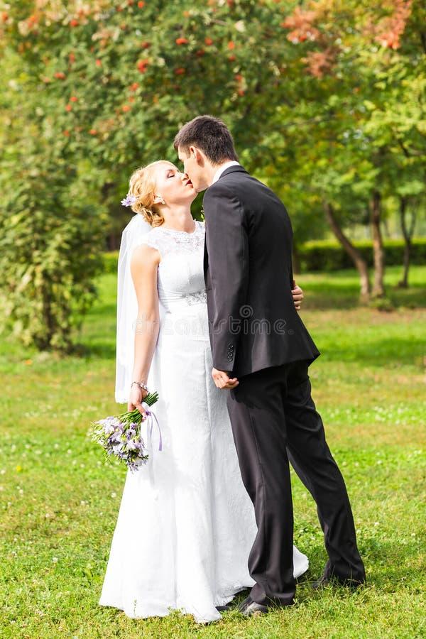 Pares hermosos de la boda al aire libre Besan y se abrazan fotos de archivo libres de regalías