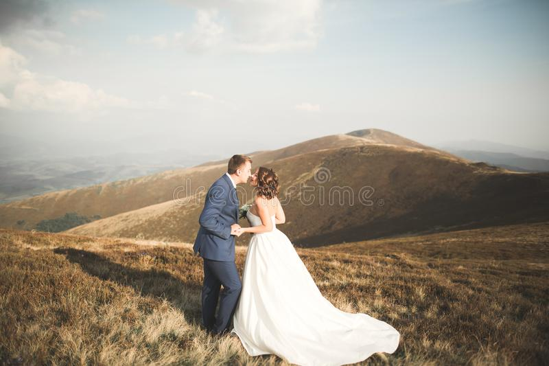 Pares hermosos de la boda que presentan encima de una montaña en la puesta del sol foto de archivo libre de regalías