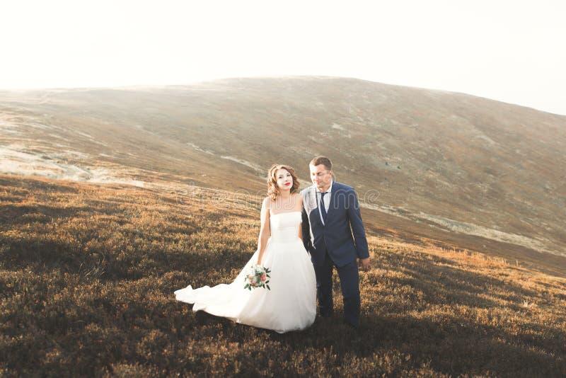 Pares hermosos de la boda que presentan encima de una montaña en la puesta del sol fotografía de archivo libre de regalías