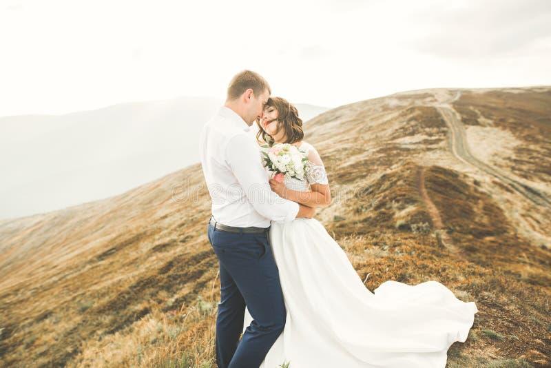 Pares hermosos de la boda que presentan encima de una montaña en la puesta del sol imagen de archivo