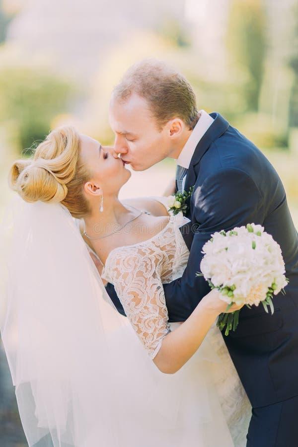 Pares hermosos de la boda que se besan en retrato del primer de la naturaleza de la primavera fotografía de archivo libre de regalías