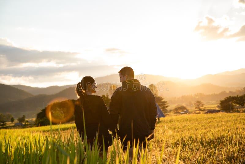 Pares hermosos del viajero en campos amarillos del arroz en Tailandia imagen de archivo
