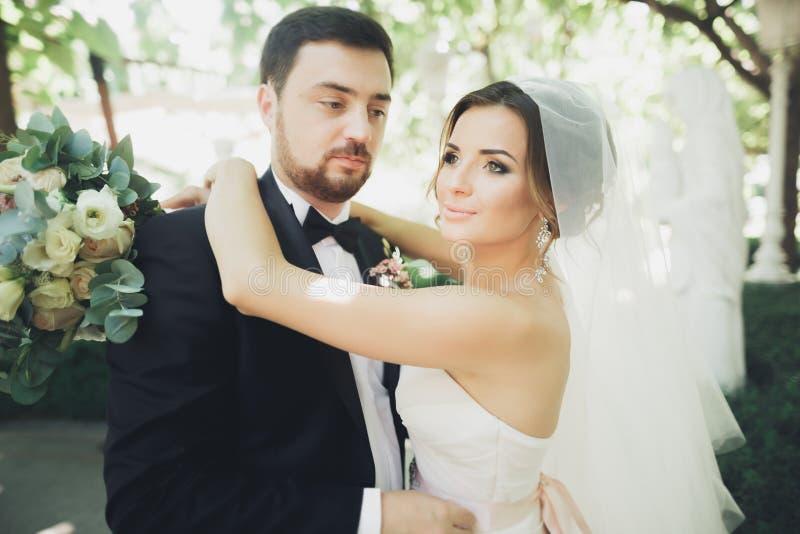 Pares hermosos elegantes de los recienes casados felices en su día de boda, cierre encima del retrato foto de archivo