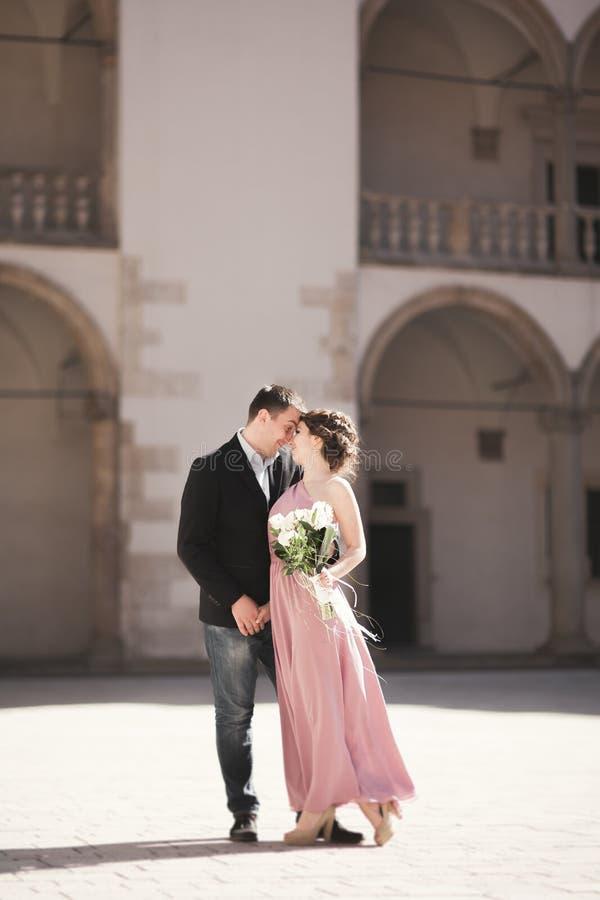 Pares hermosos, hombre, muchacha con el vestido rosado largo que presenta en castillo viejo cerca de columnas Kraków Vavel fotos de archivo