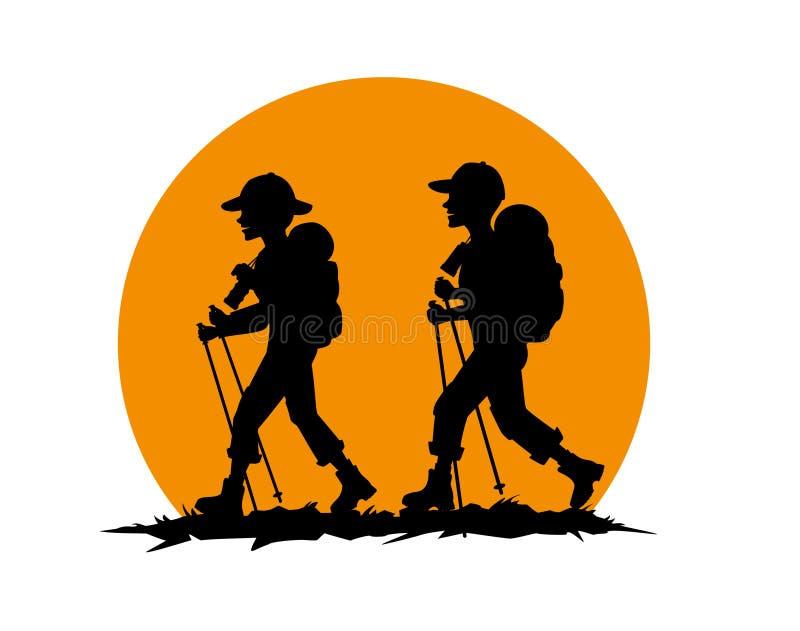 Pares, homem, mulher, caminhada dos amigos ilustração do vetor