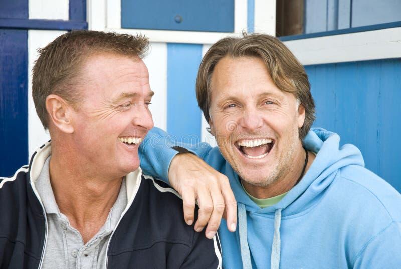 Pares homosexuales felices. fotos de archivo