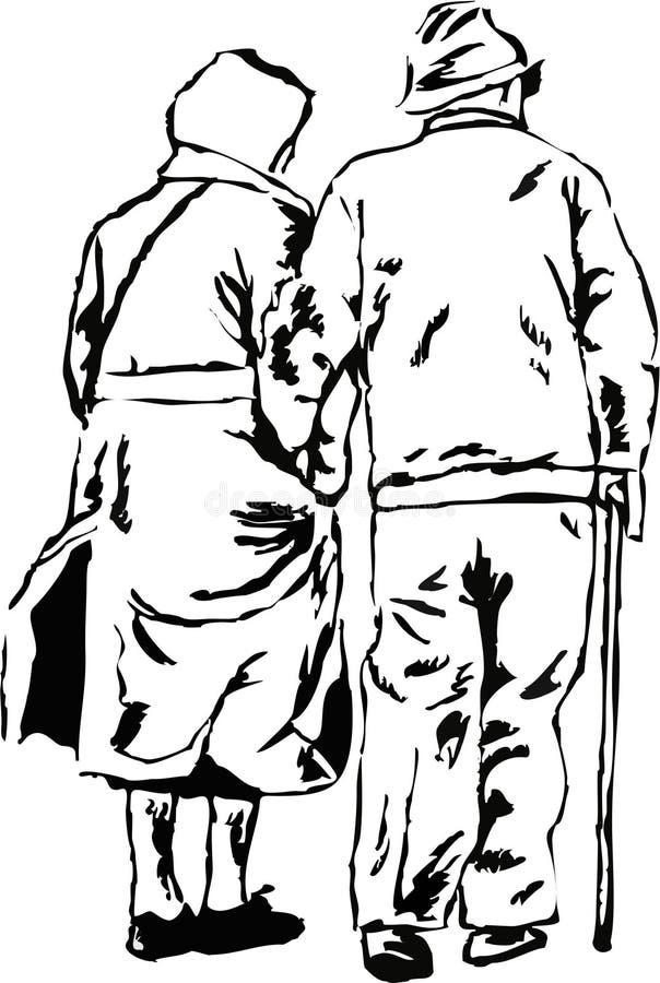 Pares idosos ilustração royalty free