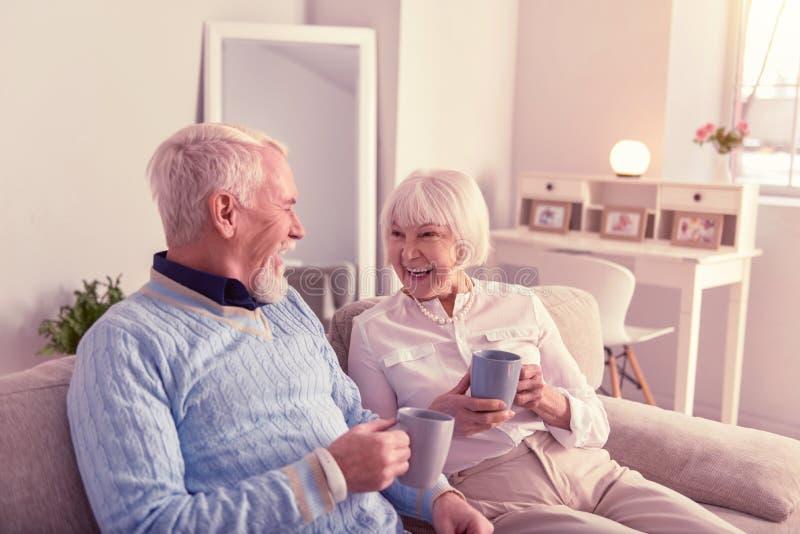Pares idosos agradáveis que têm o grande tempo no sofá fotos de stock