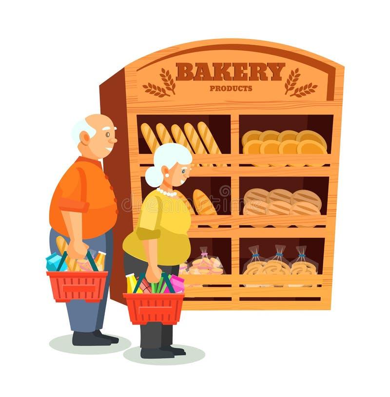 Pares idosos com compras, no shopping no contador do pão ilustração stock