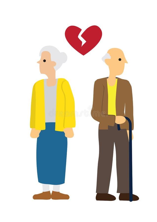 Pares idosos do homem e da mulher com coração quebrado Conceito do divórcio, do desacordo ou da separação ilustração royalty free