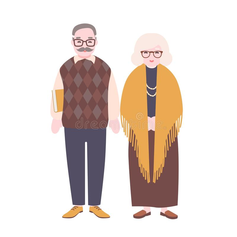Pares idosos felizes bonitos isolados no fundo branco Vidros vestindo de sorriso do ancião e da mulher Avô e ilustração do vetor