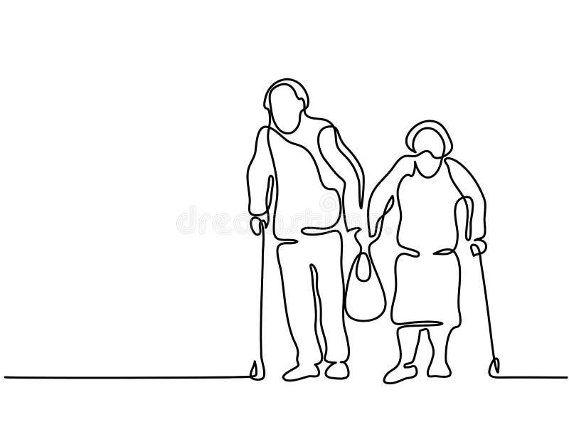 Pares idosos felizes que andam com saco ilustração do vetor