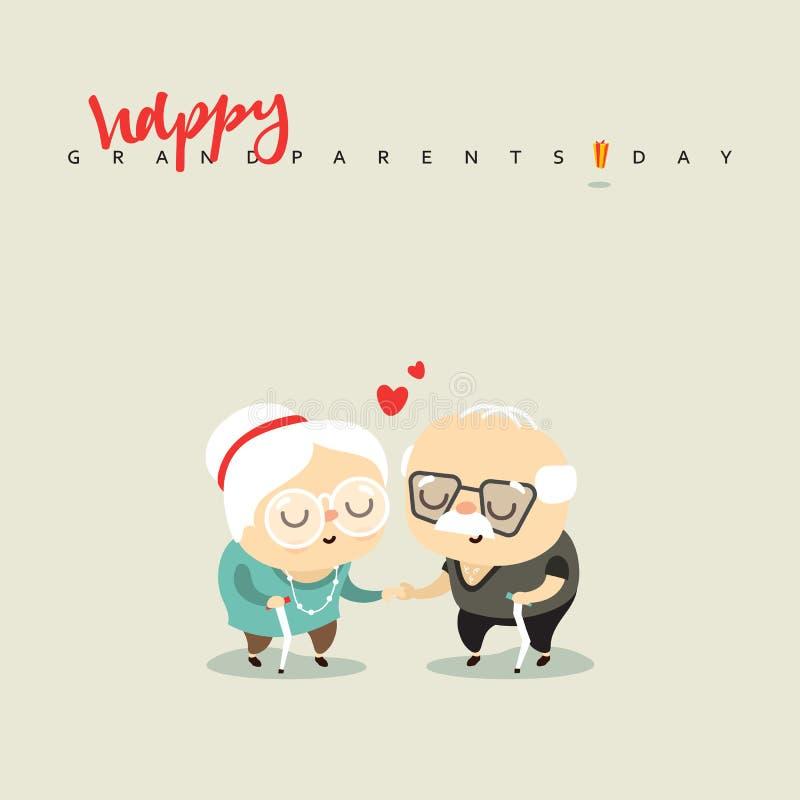 Pares idosos no amor, para o caráter do aniversário ilustração do vetor