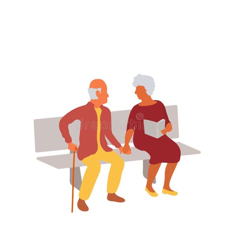 Pares idosos que sentam-se junto no banco de parque e que guardam as mãos ilustração do vetor