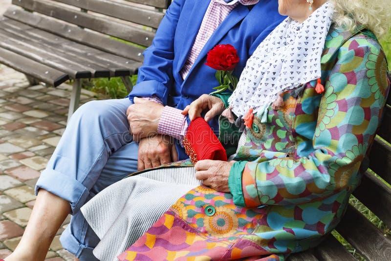Pares idosos que sorriem felizmente em uma caminhada no parque Composição brilhante, roupa à moda Adultos novos imagem de stock