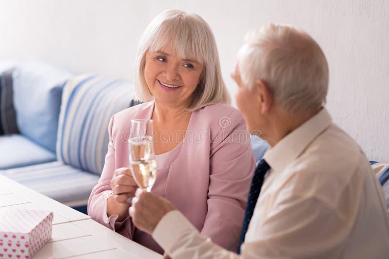 Pares idosos que têm um almoço romântico fotografia de stock
