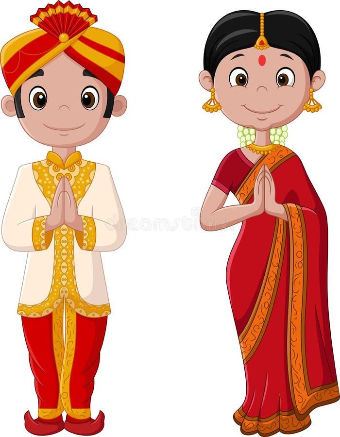 Pares indianos dos desenhos animados que vestem o traje tradicional ilustração do vetor