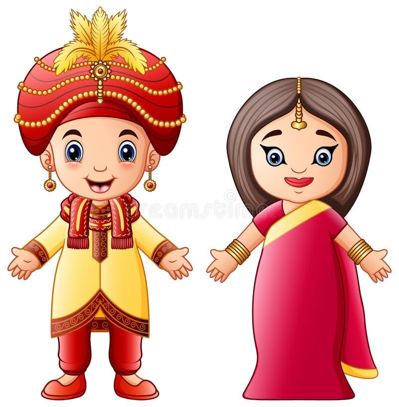 Pares indianos dos desenhos animados que vestem trajes tradicionais ilustração royalty free