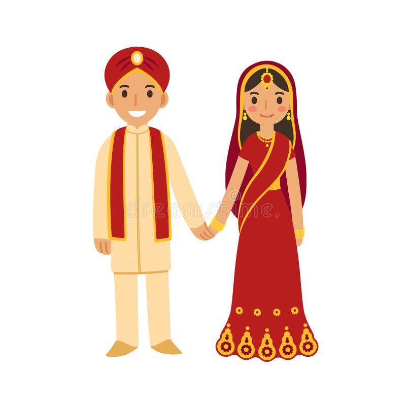 Pares indios de la boda stock de ilustración