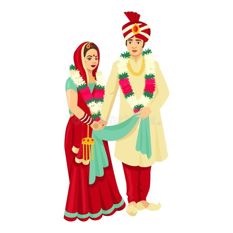 Pares indios de la boda en vestidos tradicionales Diseño del vector para casarse la invitación ilustración del vector