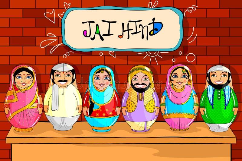 Pares indios jerarquizados de la muñeca que representan la cultura diversa de diversos estados libre illustration