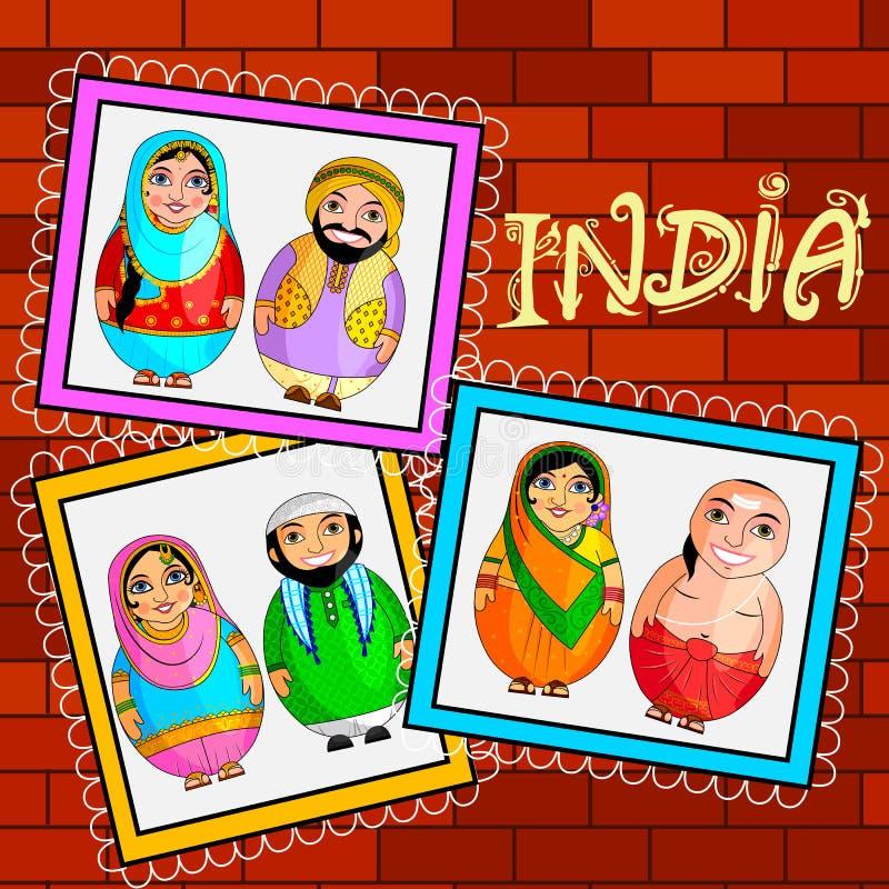 Pares indios jerarquizados de la muñeca que representan la cultura diversa de diversos estados ilustración del vector