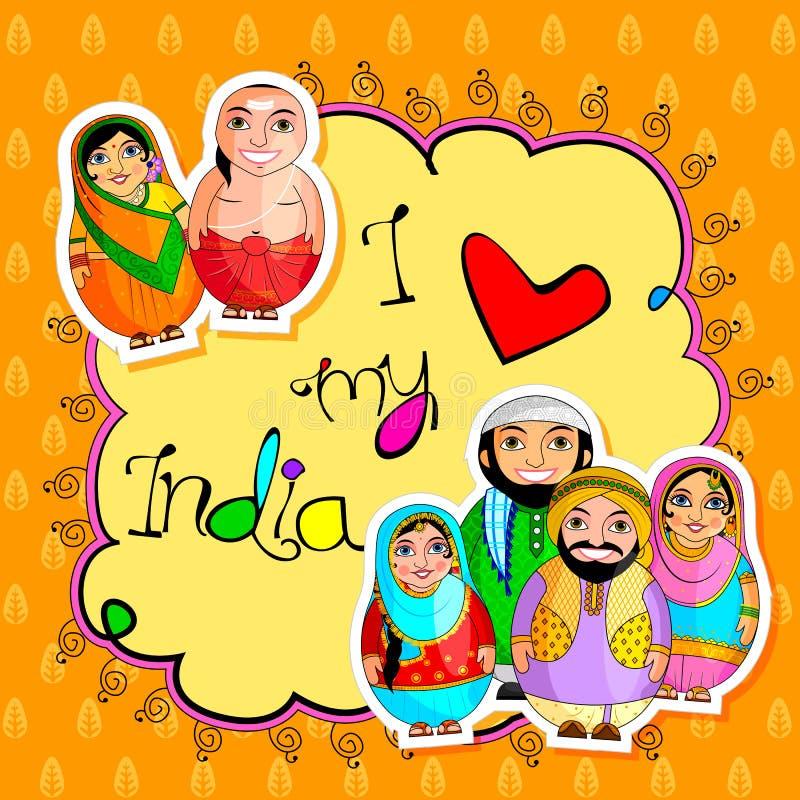 Pares indios jerarquizados de la muñeca que representan la cultura diversa de diversos estados stock de ilustración