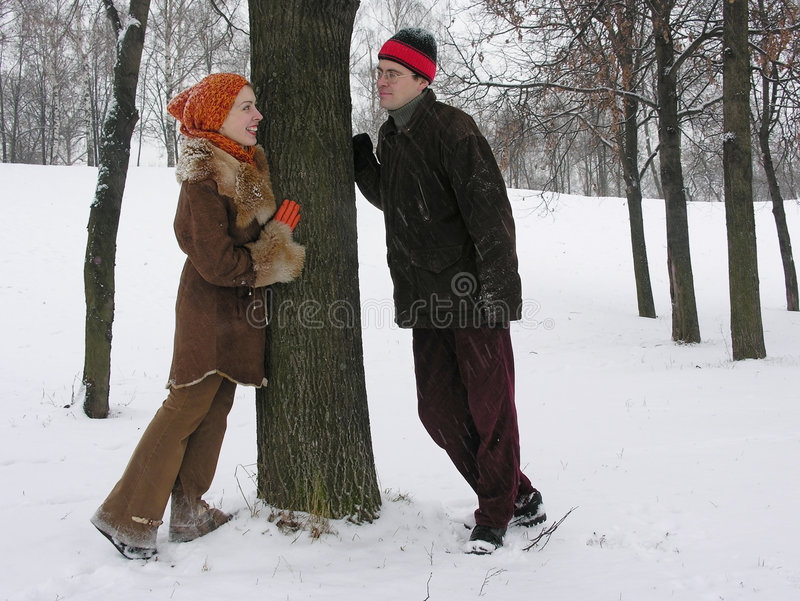Pares. invierno. fotografía de archivo libre de regalías