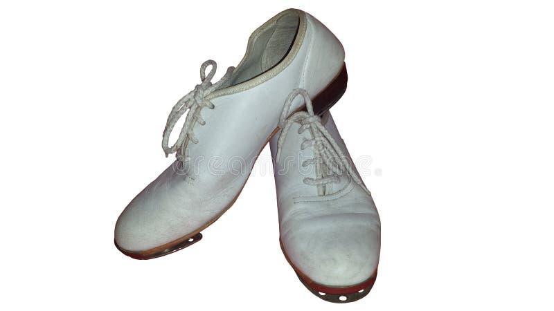 Pares isolados de sapatas de obstrução gastas para a dança de torneira ou a dança de obstrução fotografia de stock