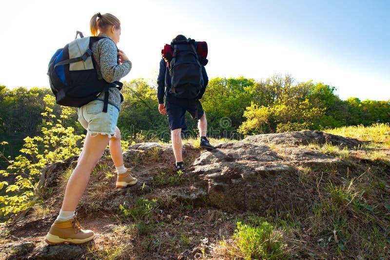 Pares jovenes activos que caminan en el bosque durante verano Viaje, fotos de archivo libres de regalías