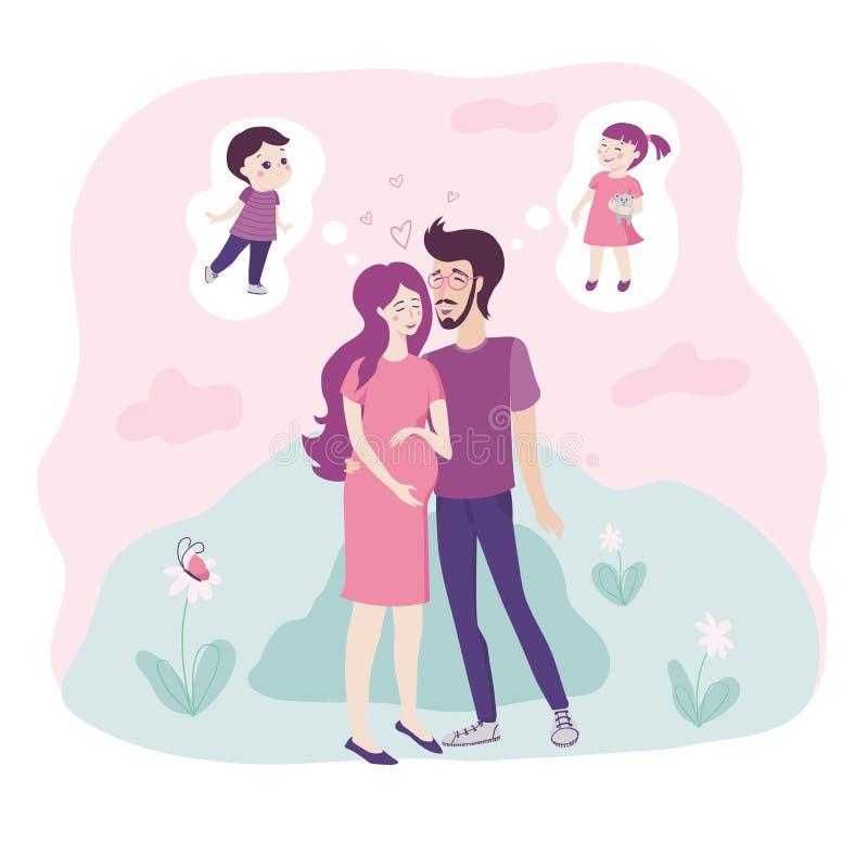 Pares jovenes de amor con la mujer embarazada que acuna su topetón del bebé en sus manos que abrazan como por cada uno sueñan con ilustración del vector