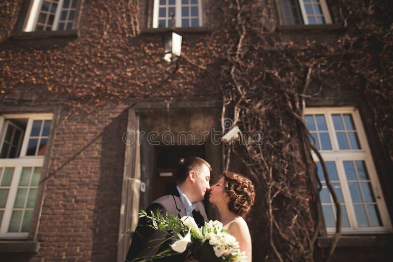 Pares jovenes de la boda en la historia de amor, la novia y el novio presentando cerca del edificio en el fondo kraków imagen de archivo libre de regalías