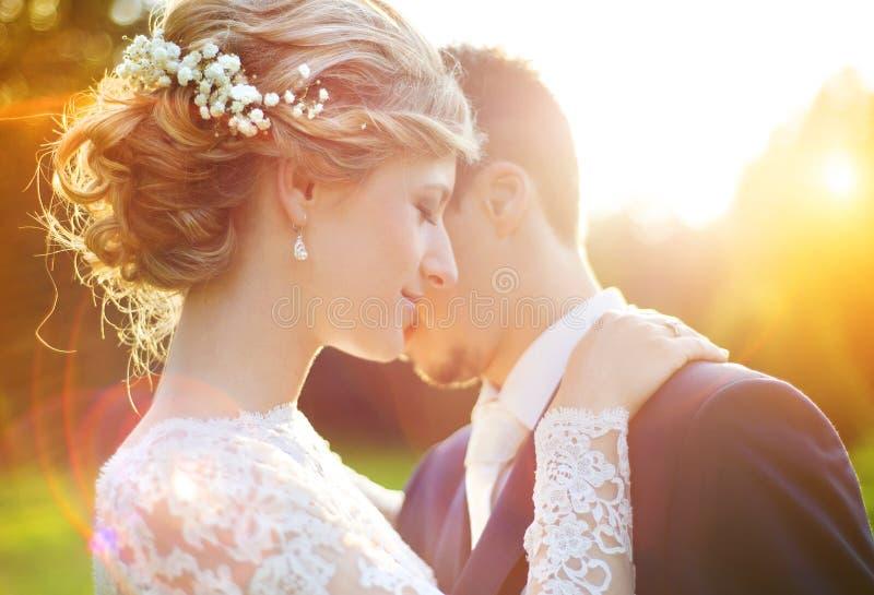 Pares jovenes de la boda en prado del verano imagen de archivo libre de regalías