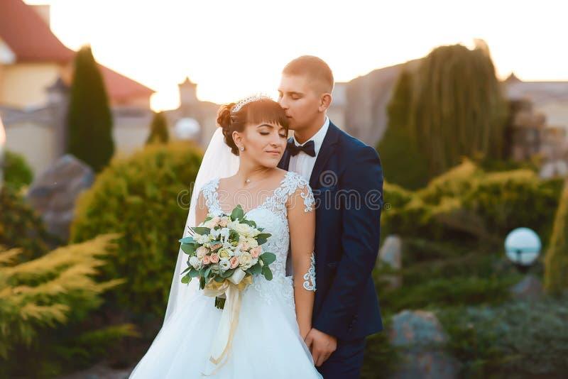 Pares jovenes de la boda que disfrutan de momentos románticos afuera en un prado del verano foto de archivo libre de regalías