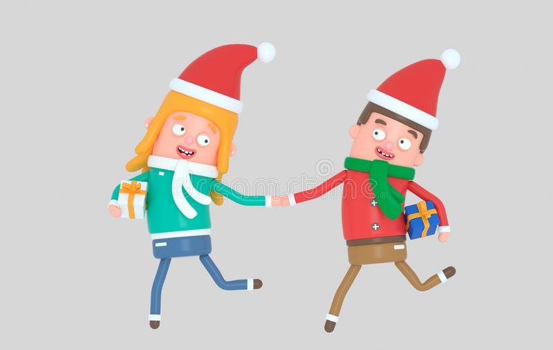 Pares jovenes de la Navidad que corren con los regalos ilustración 3D ilustración del vector