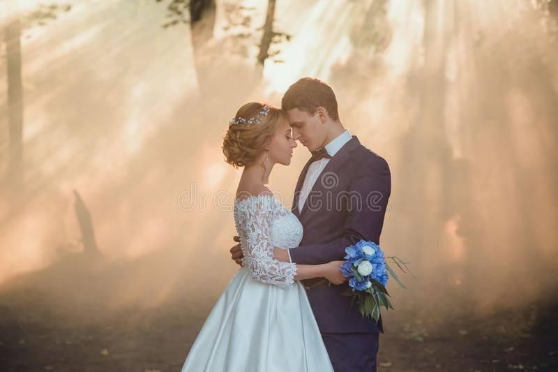 Pares jovenes de la novia rubia con una guirnalda en su cabeza en un vestido lujoso y un novio de la boda blanca larga hermosa a imagen de archivo libre de regalías