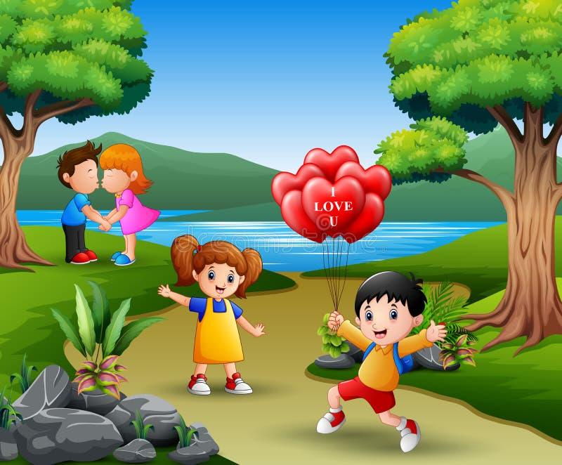 Pares jovenes del concepto dos felices de día de San Valentín en amor ilustración del vector